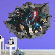 Adesivo de Parede Buraco Guerra Civil Capitão X Iron Man