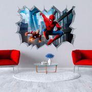 Adesivo de Parede Buraco Homem Aranha e Homem de Ferro