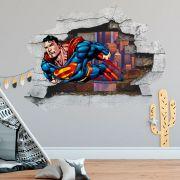 Adesivo de Parede Buraco Super Man Dc Comics Decoração