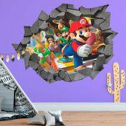 Adesivo de Parede Buraco Super Mario Bros Luigi Yoshi