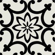 Adesivo  de Azulejo Flor Estilo Português Preto