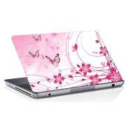 Adesivo de Notebook Flor Rosa e Borboleta
