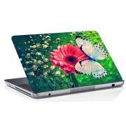 Adesivo de Notebook Flor Vermelha e Borboleta