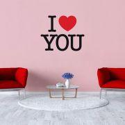 Adesivo de Parede Frase I Love You Coração