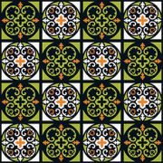 Adesivo de Azulejo Desenhos Verde e Preto