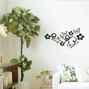 Adesivo de Parede Flores e Borboleta