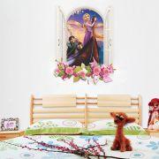 Adesivo de Parede Janela Rapunzel com Flores