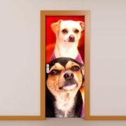 Adesivo para Porta Cachorro Preto com Cachorro Branco