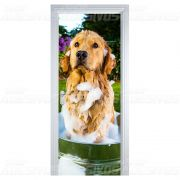 Adesivo para Porta Cachorro Tomando Banho