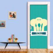 Adesivo de Porta Cozinha Menu Azul