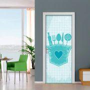 Adesivo de Porta Cozinha Utensílios Azul