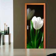 Adesivo de Porta Flor Branca Botão Fechado