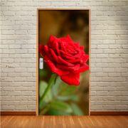 Adesivo de Porta Flor Rosa Vermelho