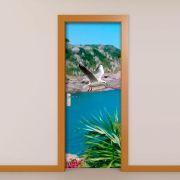 Adesivo de Porta Praia e Céu Azul
