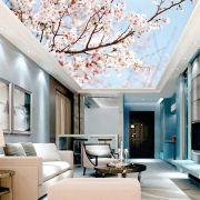 Adesivo Decorativo de Teto Árvore com Flores Rosa