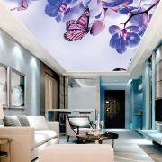 Adesivo Decorativo de Teto Borboleta e Orquídea Lilás