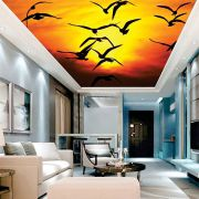Adesivo Decorativo de Teto Pássaros com Pôr do Sol