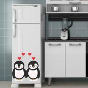 Adesivo de Geladeira Pinguim Casal Apaixonado