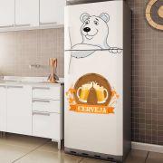 Adesivo de Geladeira Urso Polar Cerveja