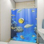 Adesivo de Box Fundo do Mar Azul e Peixe Amarelo