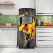 Envelopamento de Geladeira Flor Amarela