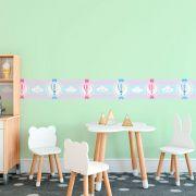 Faixa Infantil Balões e Nuvens Rosa e Azul