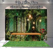 Kit Festa Painel Toalha Tapete em Lona Jardim Encantado na Árvore