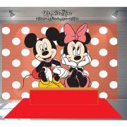 Kit Festa Painel Toalha Tapete em Lona Mickey e Minnie