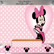 Kit Festa Painel Toalha Tapete Minnie Mouse Rosa