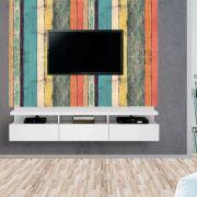 Painel Autoadesivo para Tv Lavável Textura Madeira Colorida