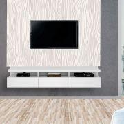 Painel Autoadesivo para Tv Lavável Textura Madeira Nude com Ranhuras