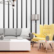 Papel de Parede Autoadesivo Listras Preto e Branco Luxo Vertical