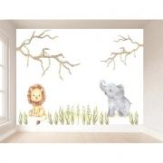 Papel de Parede Autoadesivo Elefante e Leão