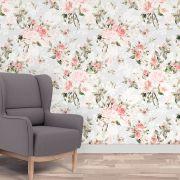 Papel de Parede Autoadesivo Floral Rosa Folhas Verdes