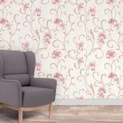 Papel de Parede Autoadesivo Floral Rosa Ranhuras Bege