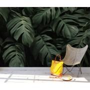 Papel de Parede Autoadesivo Floral Tropical Escuro Folhas Verdes