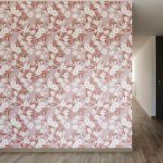 Papel de Parede Autoadesivo Flores Branca Fundo Rosê