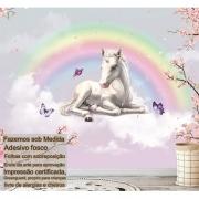 Papel de Parede Autoadesivo Unicornio Arco Iris