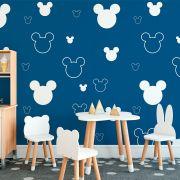 Papel de Parede Autoadesivo Cabeça Mickey Azul