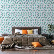 Papel de Parede Autoadesivo Flor Verde Jade