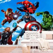 Papel de Parede Autoadesivo Heróis no Céu Avengers
