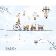Papel De Parede Infantil Safari Trenzinho Balões Azul