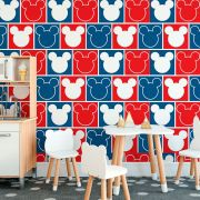 Papel de Parede Autoadesivo Mickey Vermelho e Azul