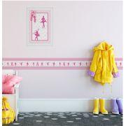 Quadro Infantil 3D Bailarina Rosa