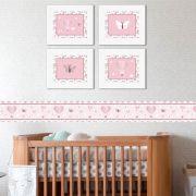 Quadro Infantil Borboleta Rosa