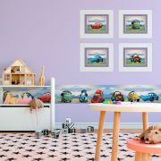 Quadro Infantil Carros Lilás