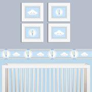 Quadro Infantil Nuvens e Balões Azuis