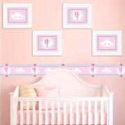 Quadro Infantil Nuvens e Balões Rosa