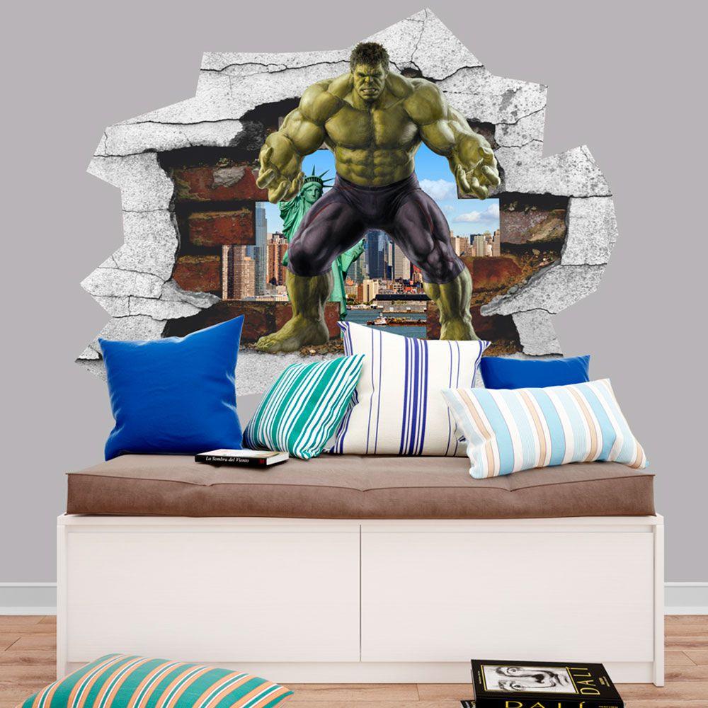 Adesivo de Parede Buraco O Incrível Hulk Marvel Vingador