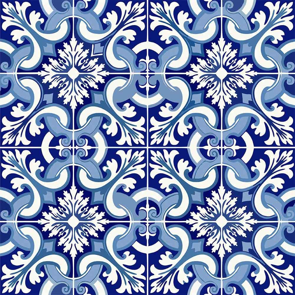 Adesivo  de Azulejo Azul Claro e Azul Escuro